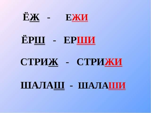 ЁЖ - ЕЖИ ЁРШ - ЕРШИ СТРИЖ - СТРИЖИ ШАЛАШ - ШАЛАШИ