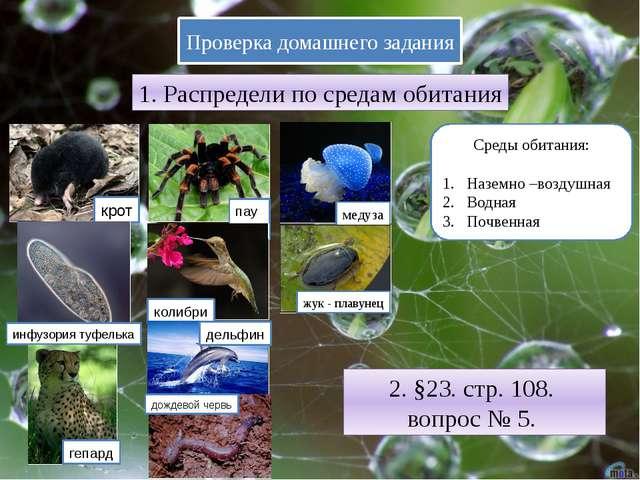 Проверка домашнего задания 1. Распредели по средам обитания Среды обитания: Н...