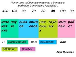 Используя найденные ответы и данные в таблице, заполните пропуски . В нет для