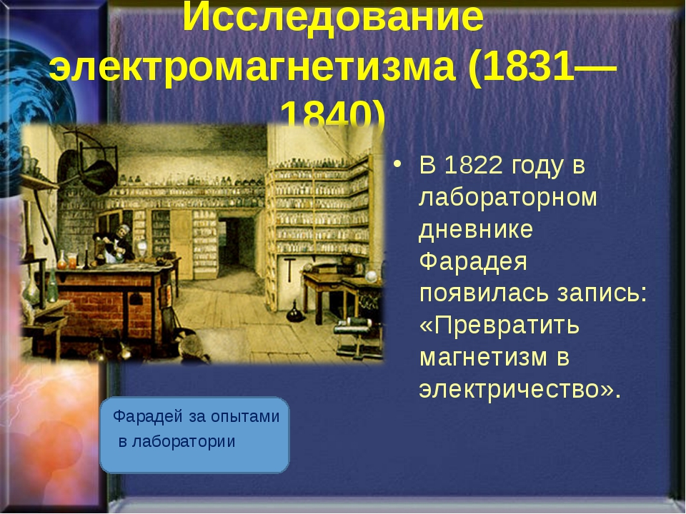 Исследование электромагнетизма (1831—1840) Фарадей за опытами в лаборатории В...