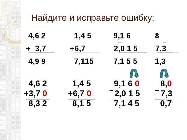 Найдите и исправьте ошибку: 4,6 2 1,4 5 9,1 6 8 + 3,7 +6,7 2,0 1 5 7,3 4,9 9...