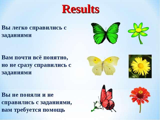 Results Вы легко справились с заданиями Вам почти всё понятно, но не сразу сп...