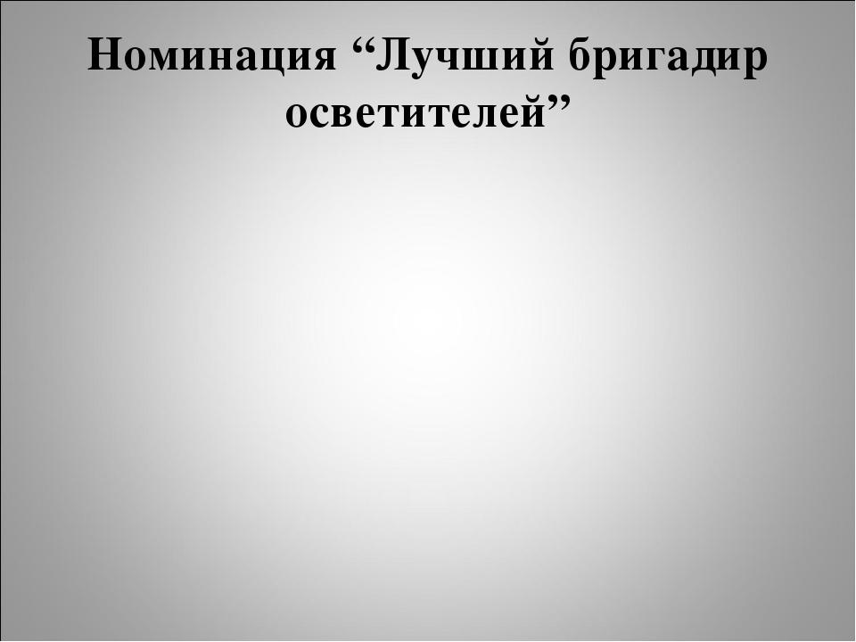 """Номинация """"Лучший бригадир осветителей"""""""