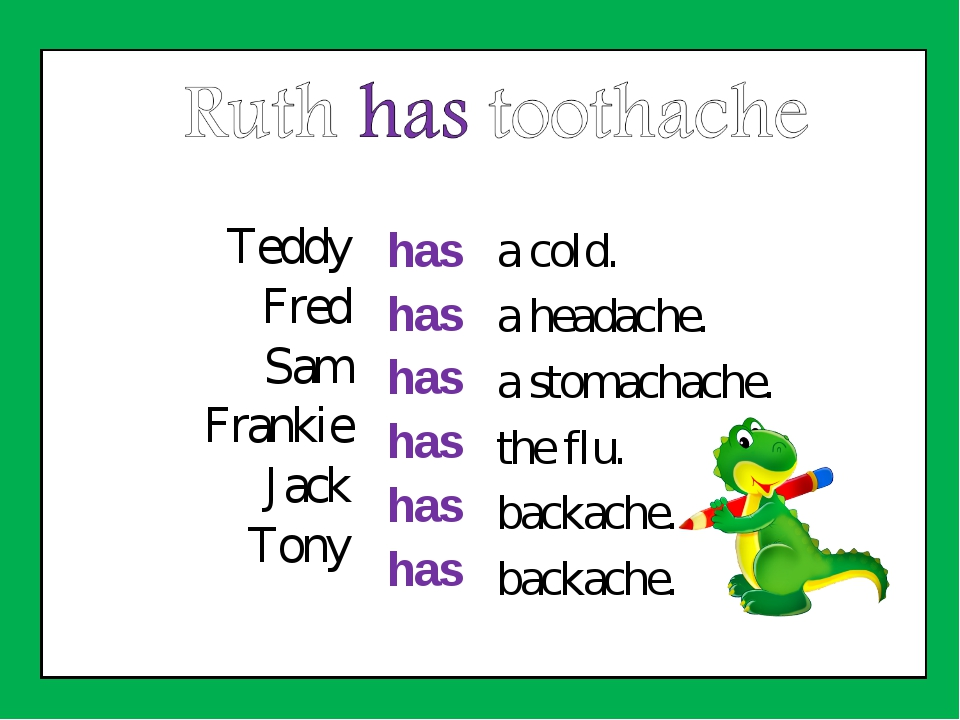Teddy Fred Sam Frankie Jack Tony has has has has has has a cold. a headache....