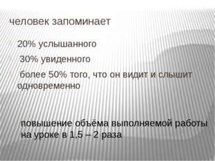человек запоминает 20% услышанного 30% увиденного более 50% того, что он види