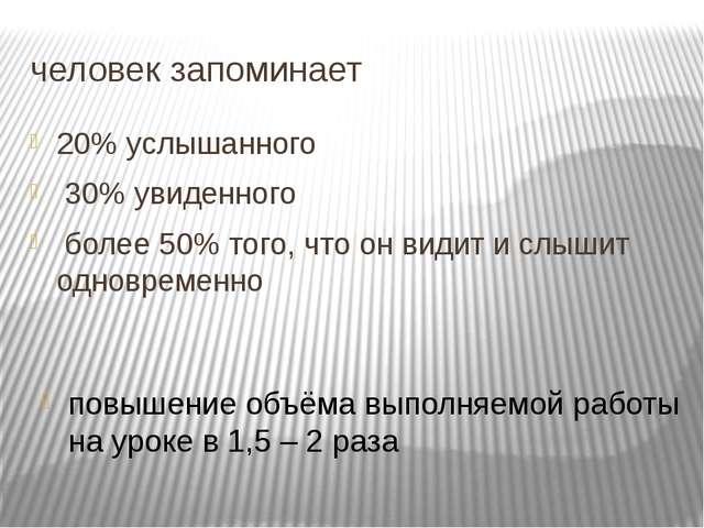 человек запоминает 20% услышанного 30% увиденного более 50% того, что он види...