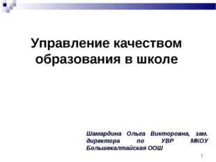 * Шамардина Ольга Викторовна, зам. директора по УВР МКОУ Большекалтайская ООШ