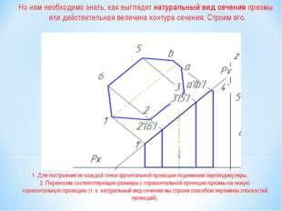 1. Для построения из каждой точки фронтальной проекции поднимаем перпендикуля