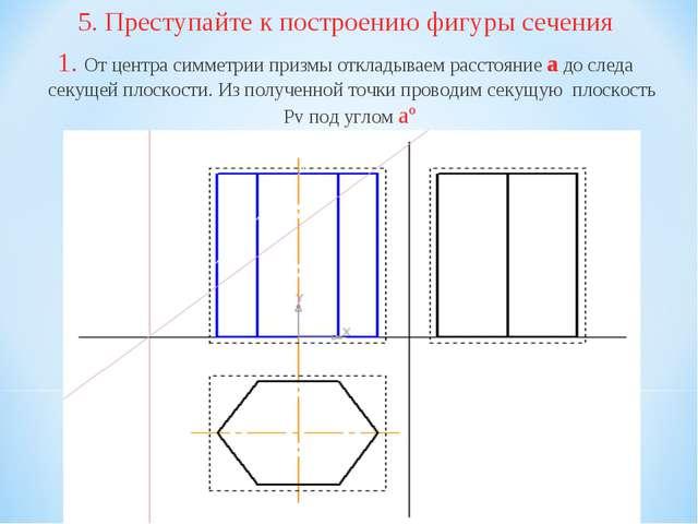 5. Преступайте к построению фигуры сечения 1. От центра симметрии призмы откл...