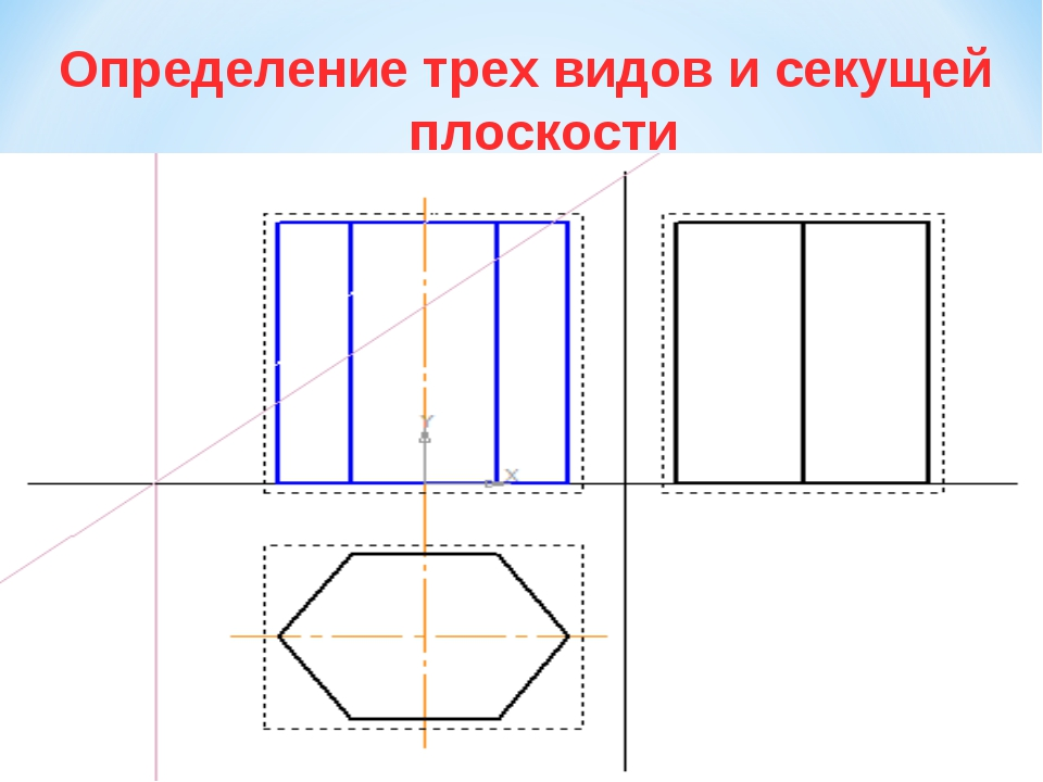 Определение трех видов и секущей плоскости