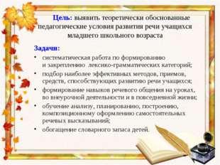 Цель: выявить теоретически обоснованные педагогические условия развития речи