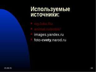Используемые источники: myJulia.Ru animal.ru/potos/ images.yandex.ru foto-cve