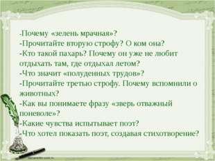 -Почему «зелень мрачная»? -Прочитайте вторую строфу? О ком она? -Кто такой па