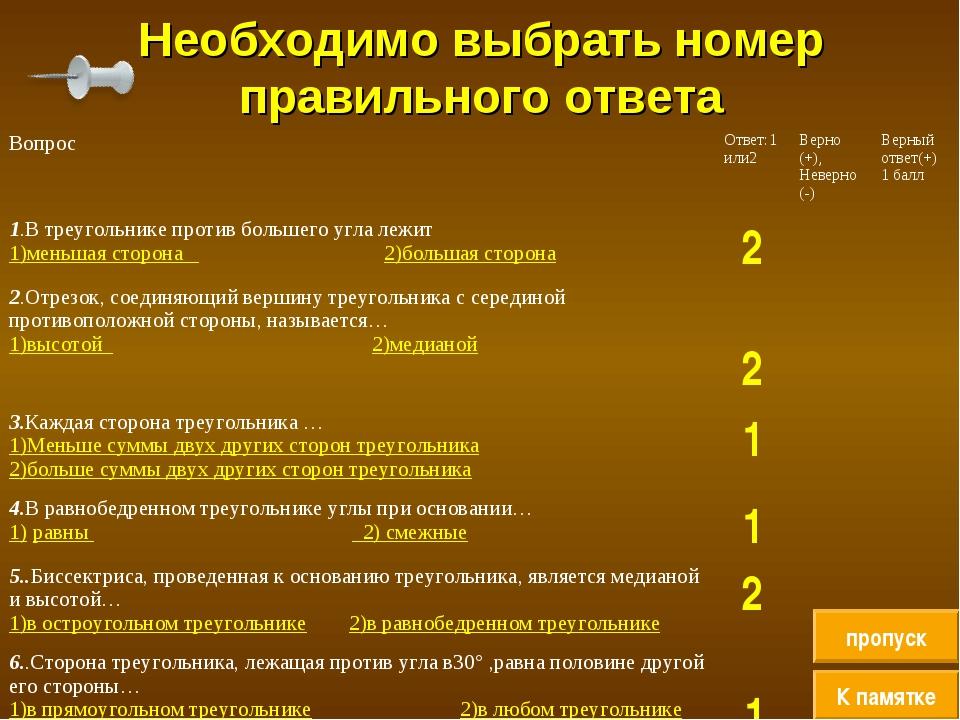 Необходимо выбрать номер правильного ответа К памятке пропуск ВопросОтвет:1...