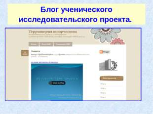 Блог ученического исследовательского проекта.