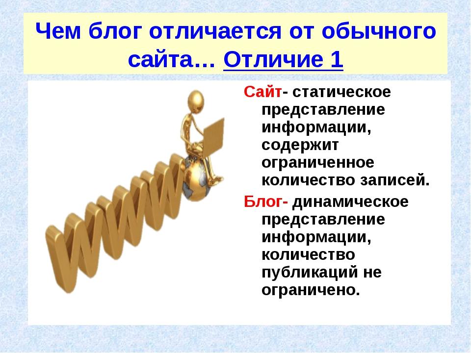 Чем блог отличается от обычного сайта… Отличие 1 Сайт- статическое представле...