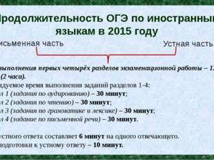 Продолжительность ОГЭ по иностранным языкам в 2015 году Время выполнения перв