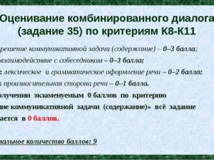 Оценивание комбинированного диалога (задание 35) по критериям К8-К11 К8: реше