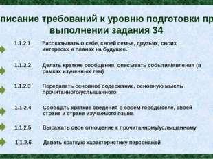Описание требований к уровню подготовки при выполнении задания 34 1.1.2.1 Рас