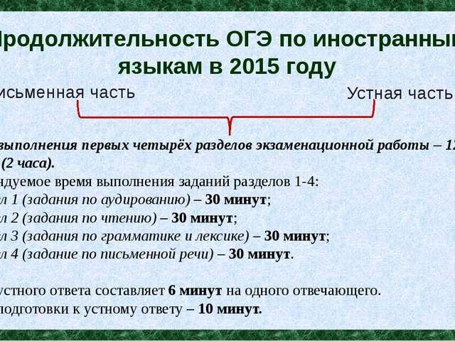 Продолжительность ОГЭ по иностранным языкам в 2015 году Время выполнения перв...