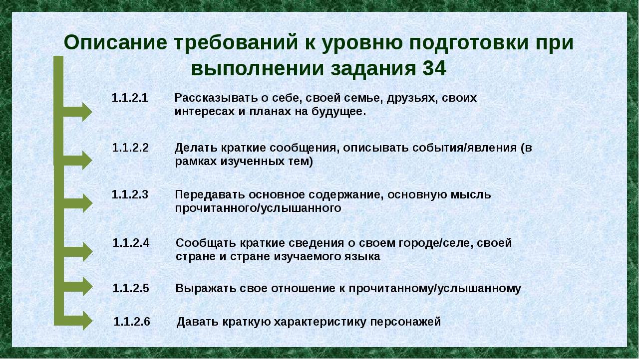 Описание требований к уровню подготовки при выполнении задания 34 1.1.2.1 Рас...
