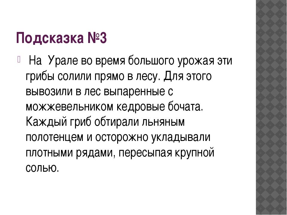 Подсказка №3 На Урале во время большого урожая эти грибы солили прямо в лесу....