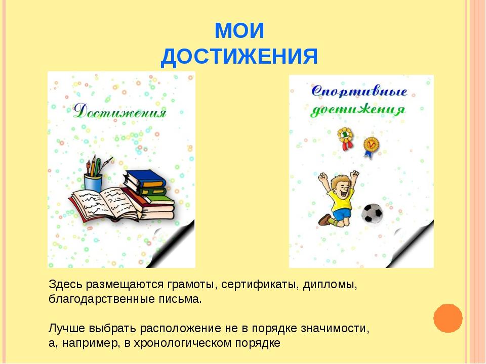 МОИ ДОСТИЖЕНИЯ Здесь размещаются грамоты, сертификаты, дипломы, благодарствен...