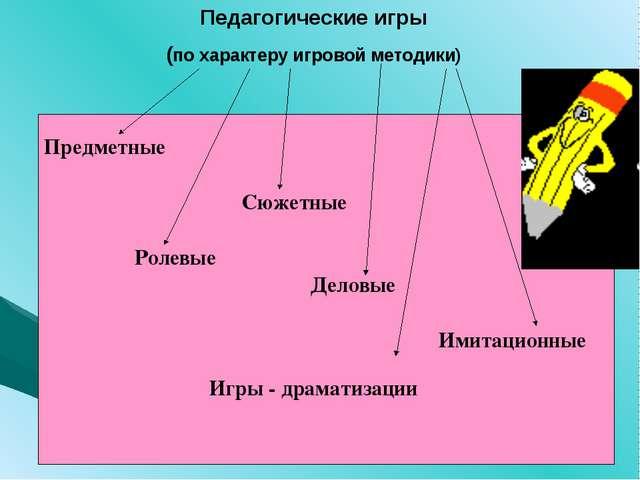 Педагогические игры (по характеру игровой методики) Предметные Сюжетные Ролев...