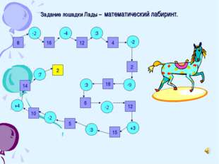 Задание лошадки Лады – математический лабиринт. 8 16 12 2 4 14 10 5 15 12 6 1