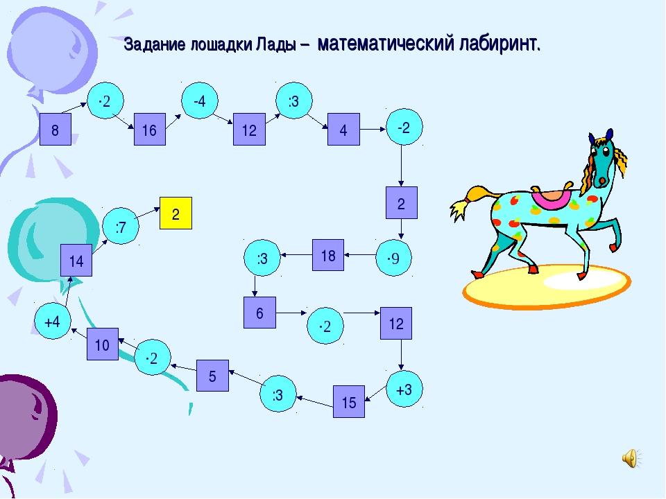 Задание лошадки Лады – математический лабиринт. 8 16 12 2 4 14 10 5 15 12 6 1...