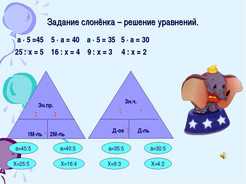 Задание слонёнка – решение уравнений. а · 5 =45 5 · а = 40 а · 5 = 35 5 · а =...