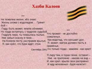 Хазби Калоев *** Не пожалею жизни, ибо знаю: Жизнь схожа с водопадом.… Грянет