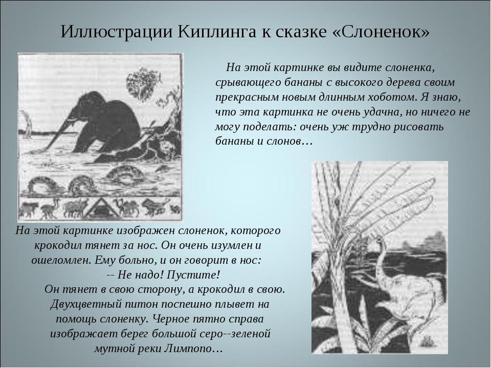 Иллюстрации Киплинга к сказке «Слоненок» На этой картинке изображен слоненок,...