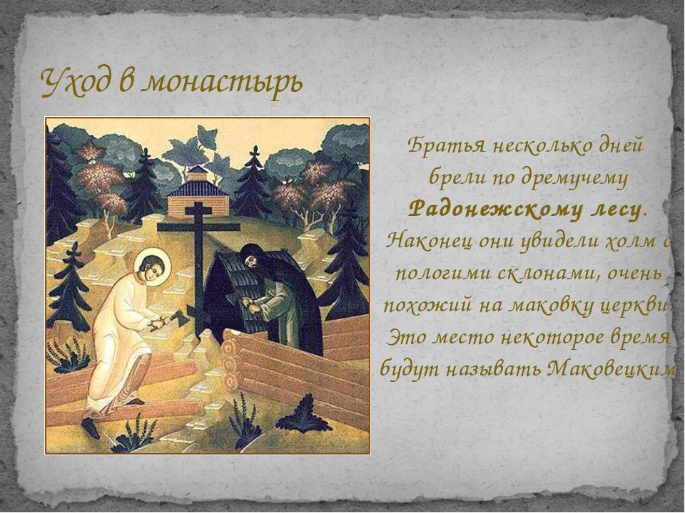Уход в монастырь После смерти родителей Сергей Радонежский уходит в монастырь...