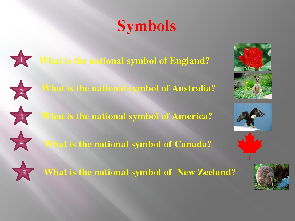 Symbols 1 2 3 4 5 What is the national symbol of England? What is the nationa...