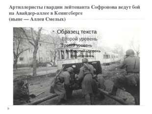 Артиллеристы гвардии лейтенанта Софронова ведут бой на Авайдер-аллее в Кенигс