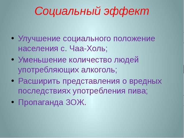 Социальный эффект Улучшение социального положение населения с. Чаа-Холь; Умен...