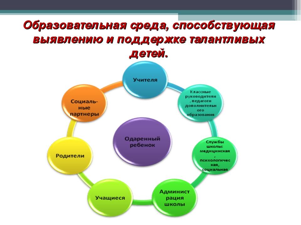 Образовательная среда, способствующая выявлению и поддержке талантливых детей.
