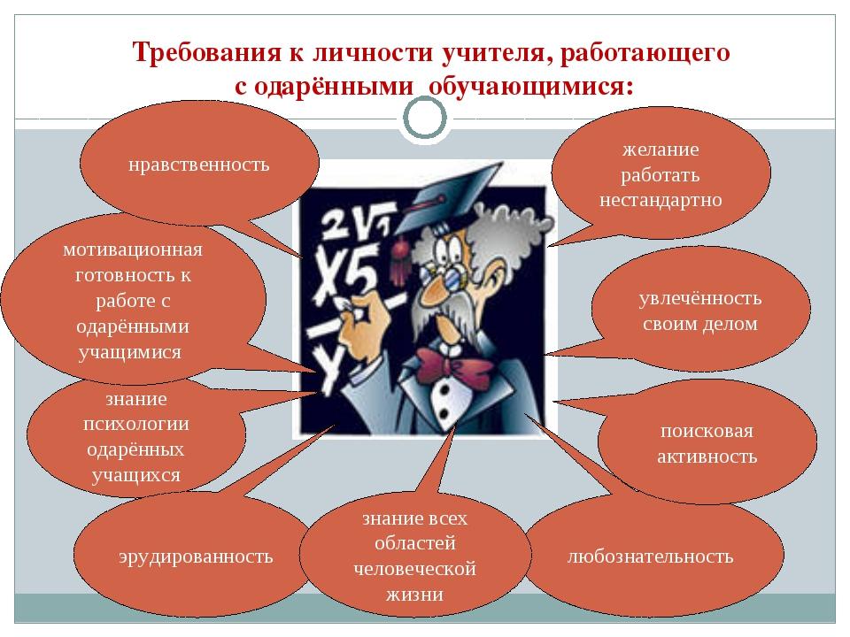Требования к личности учителя, работающего с одарёнными обучающимися: увлечён...