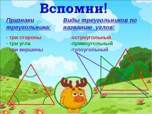 -остроугольный -прямоугольный -тупоугольный Признаки треугольника: Виды треуг