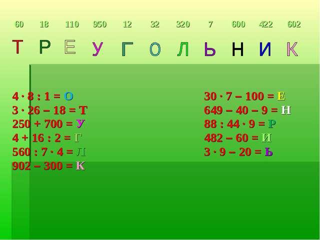 4 ∙ 8 : 1 = О 30 ∙ 7 – 100 = Е 3 ∙ 26 – 18 = Т649 – 40 – 9 = Н 250 + 7...