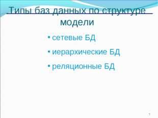 * Типы баз данных по структуре модели сетевые БД иерархические БД реляционные