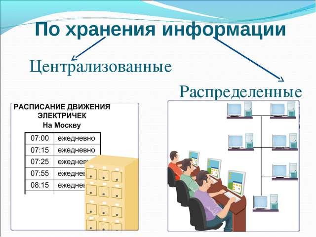 По хранения информации Централизованные Распределенные