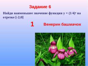 Задание 6 Найди наименьшее значение функции у = (1/4)х на отрезке [-2;0] 1 Ве
