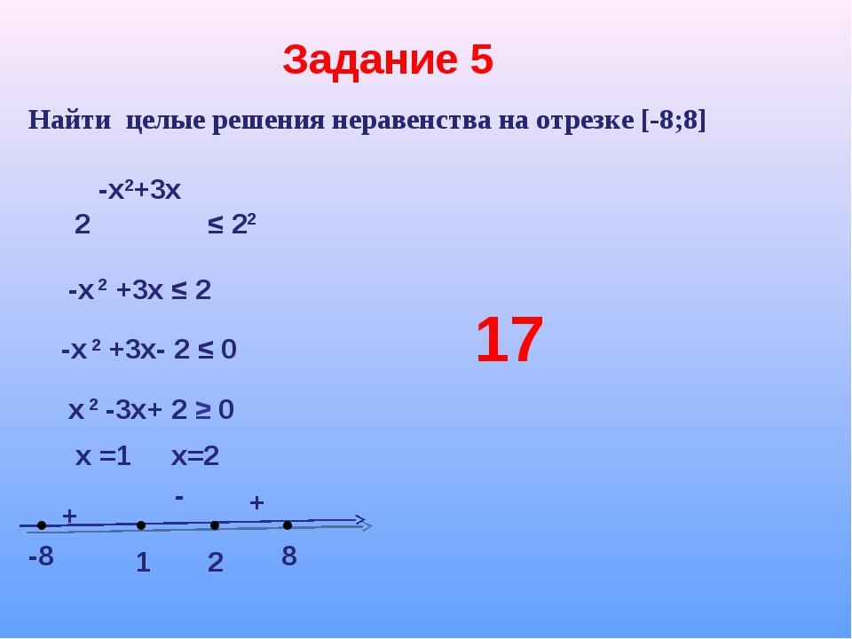 Задание 5 Найти целые решения неравенства на отрезке [-8;8] -х2+3х 2 ≤ 22 -х...