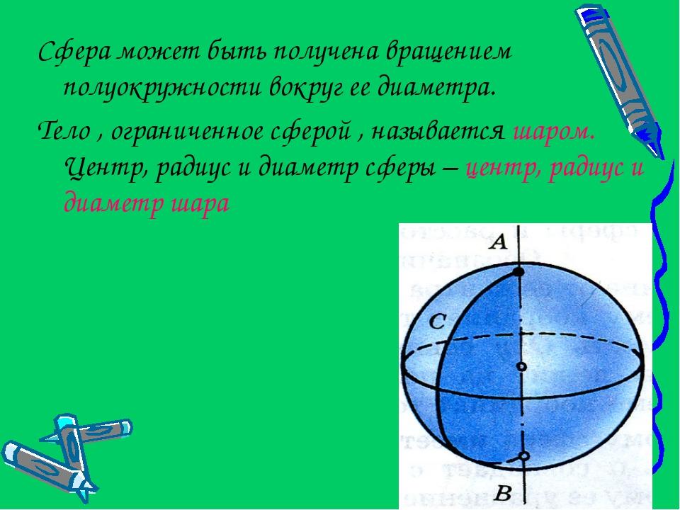 Сфера может быть получена вращением полуокружности вокруг ее диаметра. Тело ,...