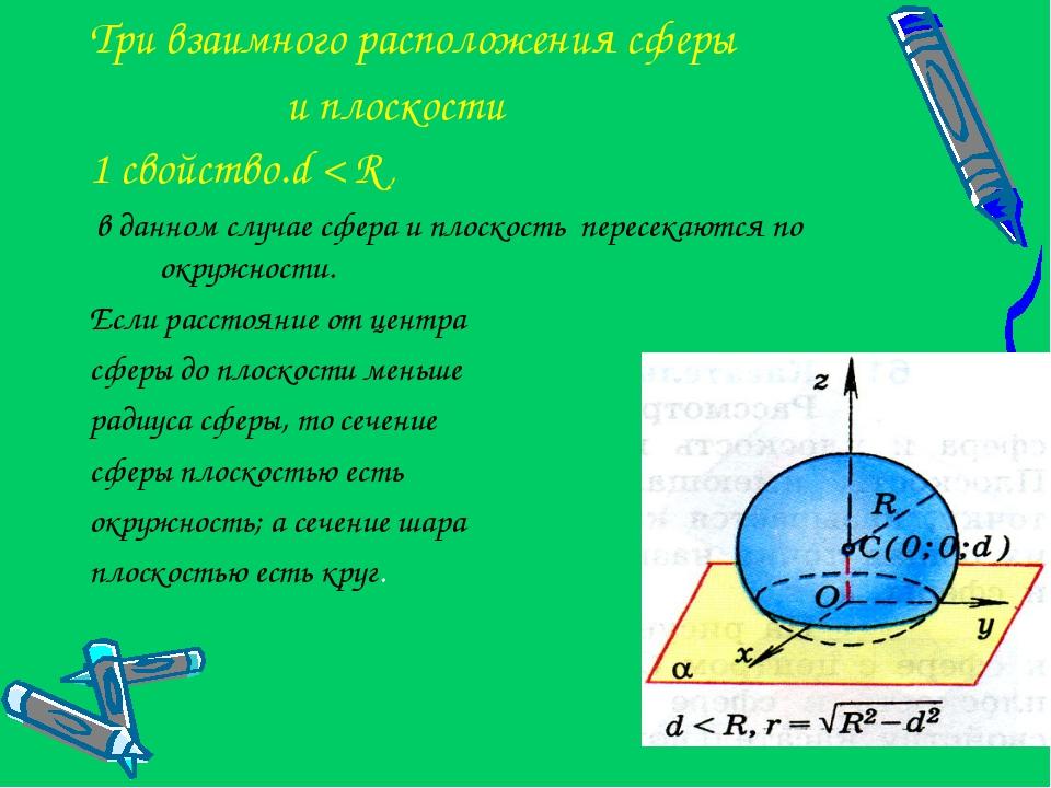 Три взаимного расположения сферы и плоскости 1 свойство.d < R , в данном случ...