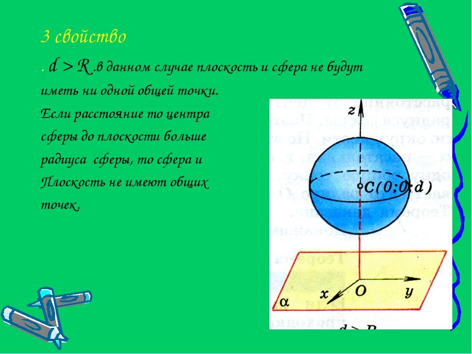 3 свойство . d > R .в данном случае плоскость и сфера не будут иметь ни одной...