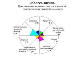 «Колесо жизни» Цель: осознание жизненных смыслов и ценностей. Самопрезентация