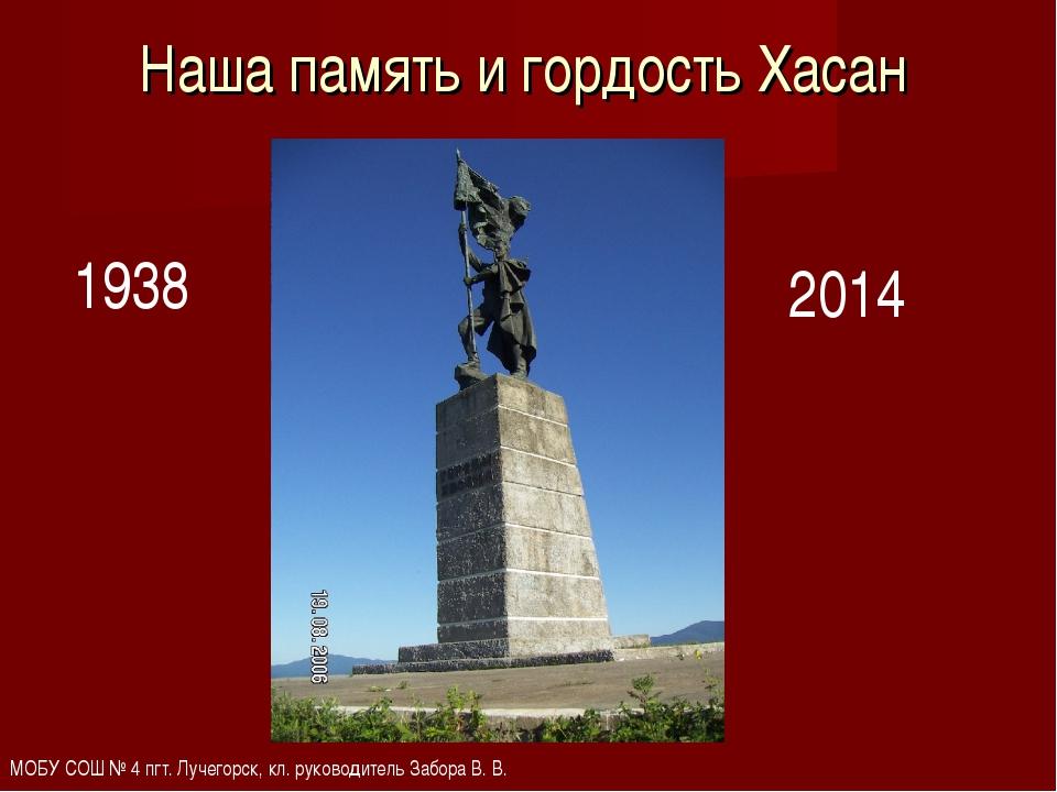Наша память и гордость Хасан 1938 2014 МОБУ СОШ № 4 пгт. Лучегорск, кл. руков...